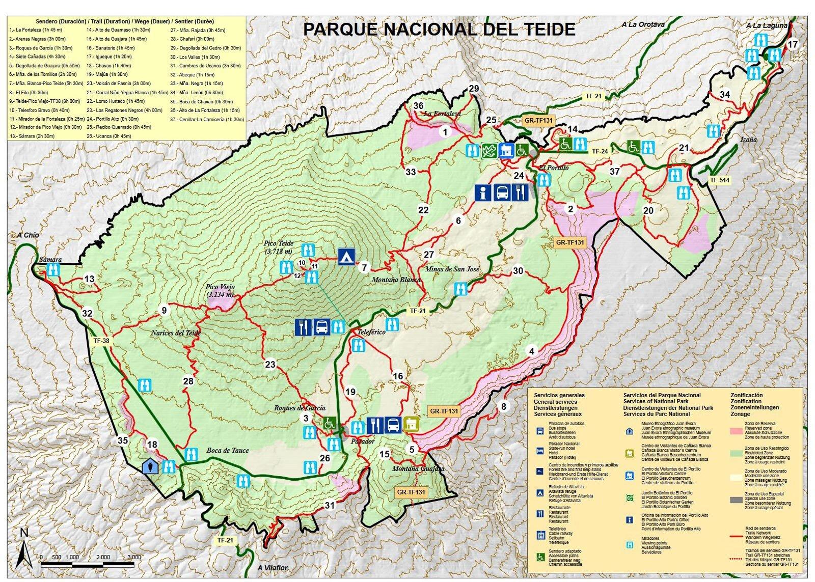 Teide mapa szlaków turystycznych